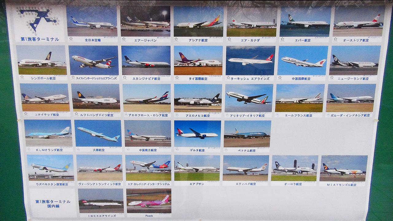 成田第一ターミナルから離陸する飛行機一覧