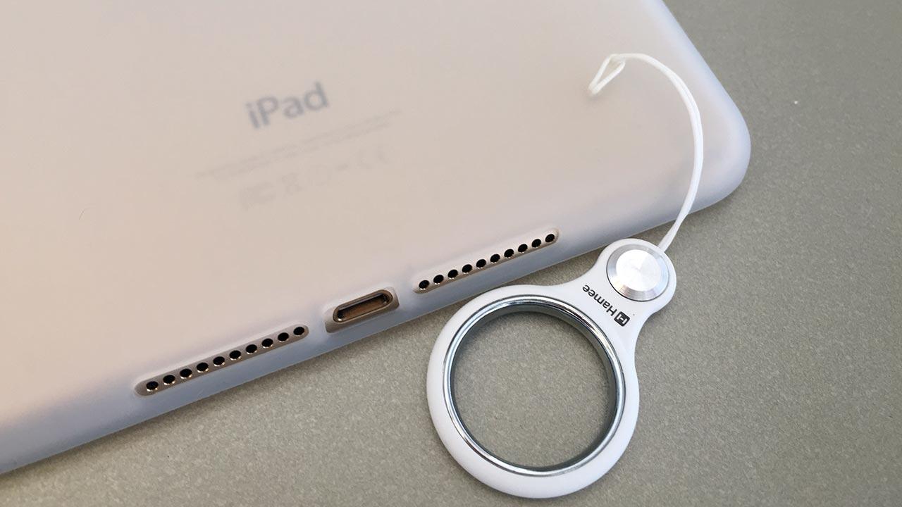 iPad mini 4ベアリング携帯ストラップを取り付けた