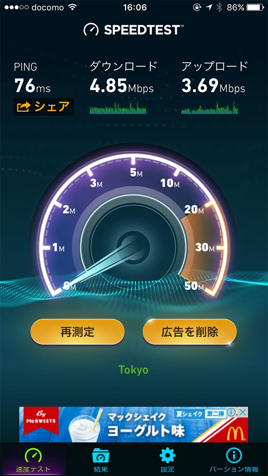 千葉県千葉市中央区富士見のデニーズスピードテスト