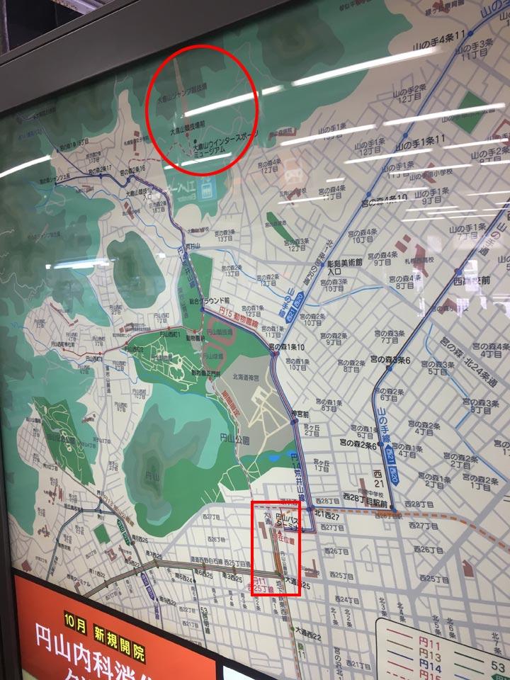 円山公園から大倉山展望台までの地図