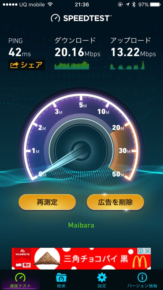 Daiwa Roynet Hotels_Wi-Fi_SpeedTest画面