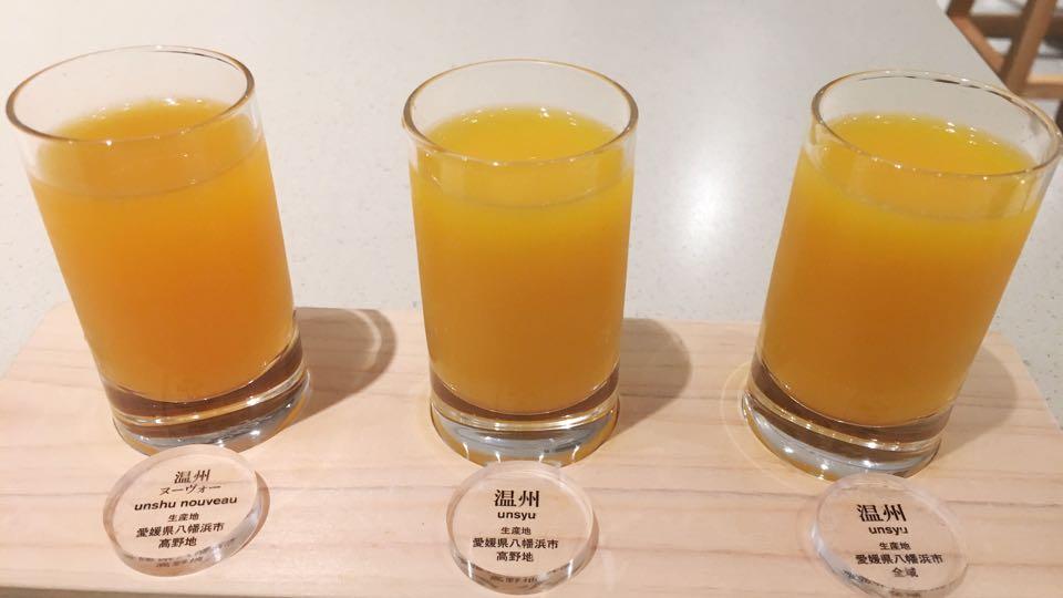 温州ヌーボー3種類ミカンジュース飲み比べ10factory道後温泉
