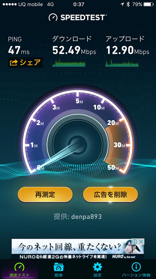 UQ mobileスピードテスト爆速