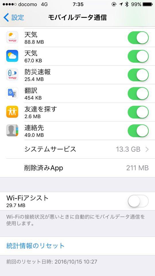 iOSデータ通信使用画面iPhoneiPad